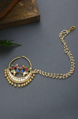 Ruby Multicolor Kundan and Pearls Nosepin