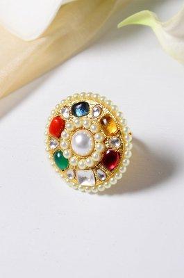 Urmi Multicoloured Polki and Pearls Ring