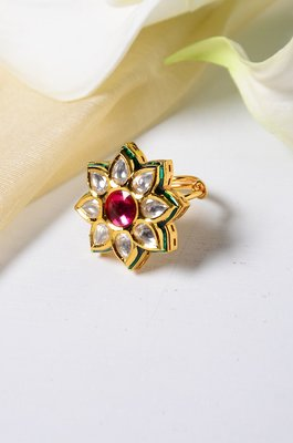 Rihana Floral Polki Ring