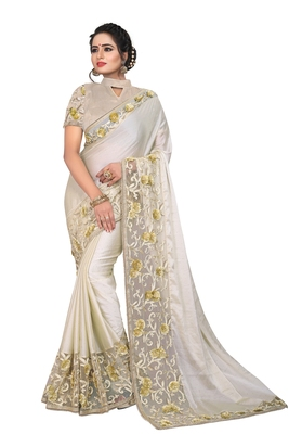 Off white embroidered silk saree with blouse