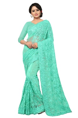 Sky blue embroidered net saree with blouse