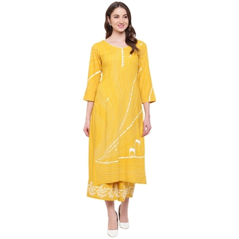 Yellow printed rayon kurtas-and-kurtis