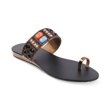 SOLE HEAD Black Flat Women Sandal