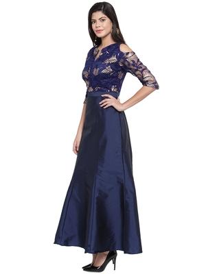 Navy blue embroidered silk blend maxi-dresses