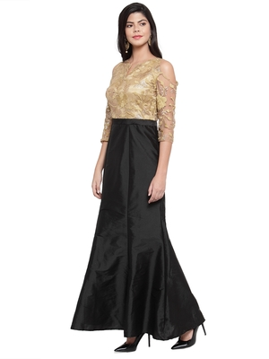 Black embroidered silk blend maxi-dresses