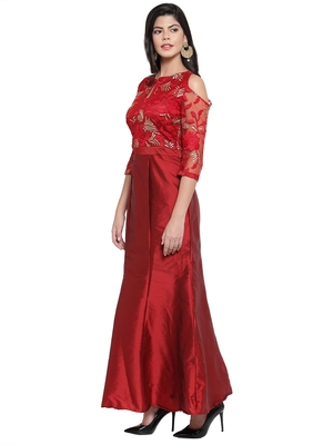 Maroon embroidered silk blend maxi-dresses