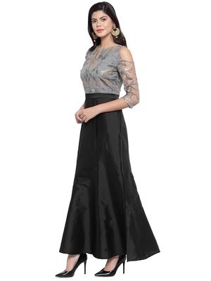 Black embroidered silk blend maxi-dresses