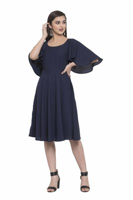 Navy blue plain crepe short-dresses