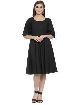 Black plain crepe short-dresses