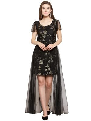 Black plain net maxi-dresses