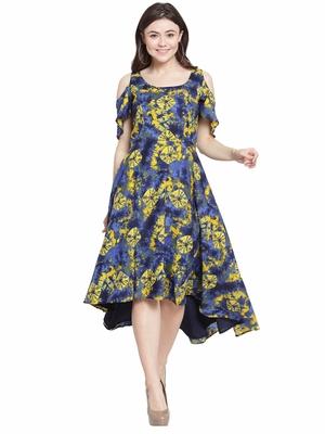 Yellow plain polyester short-dresses
