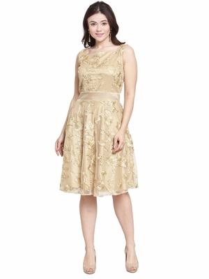 Beige plain net short-dresses