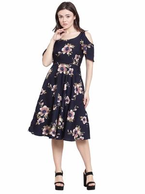 Navy blue plain polyester short-dresses