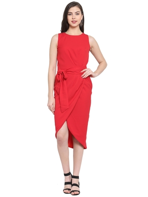 Red plain polyester short-dresses