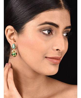Green Gold Tone Kundan and Meenakari Earrings