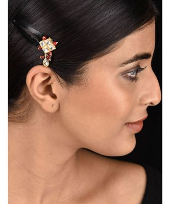 Red Gold Tone Kundan Inspired Hair Pin