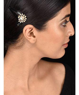 Black Gold Tone Kundan Inspired Hair Pin