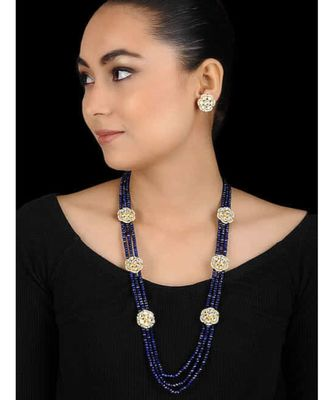 Blue Gold Tone Kundan Inspired Multilayered Necklace Set
