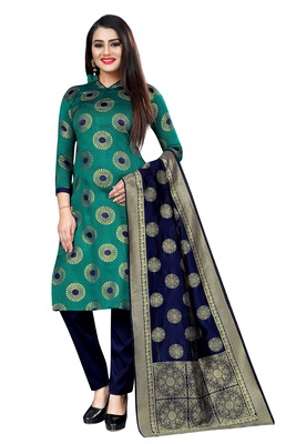 Green self design brocade salwar