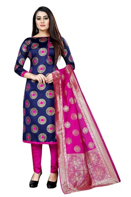 Navy blue self design brocade salwar