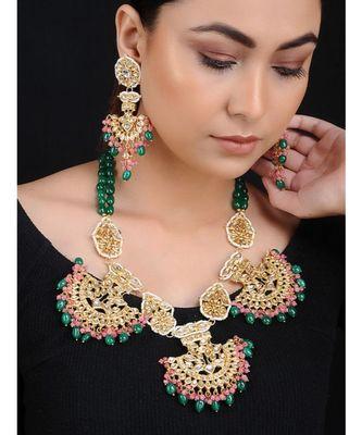 Green Red Gold Tone Kundan with Semi Precious Stones Necklace with Chaandbalis