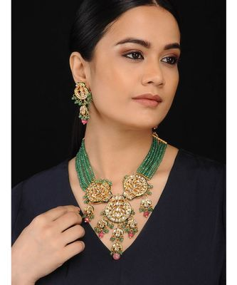 Green Gold Tone Kundan And Onyx Necklace Set