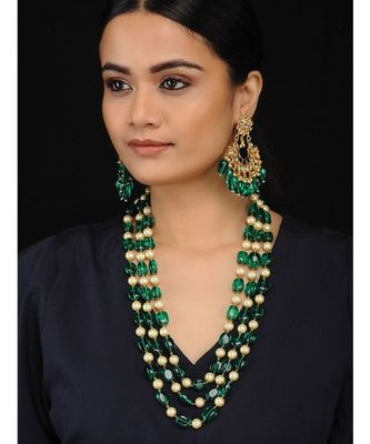 Green Gold Tone Semi Precious Stones with Pearls Layered Necklace Set