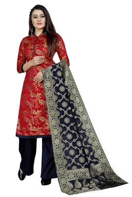 Red self design brocade salwar
