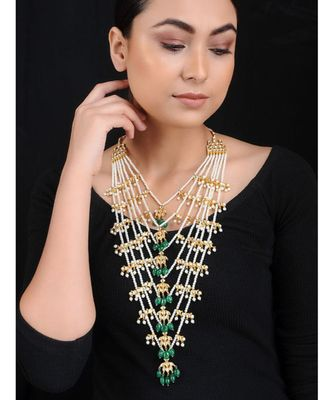 White Green Gold Tone Kundan Inspired Pearl Necklace
