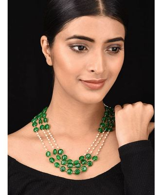 Green White Pearls and Natural Stones Necklace