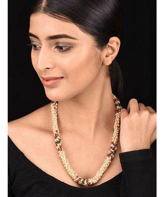 Multicoloured Gold Tone Multistrand Necklace