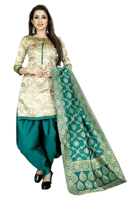 Cream self design brocade salwar