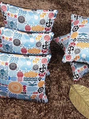 "Houzzcode Seashore Kids Printed Cushion Cover 12""x12"" (Set of 5)"