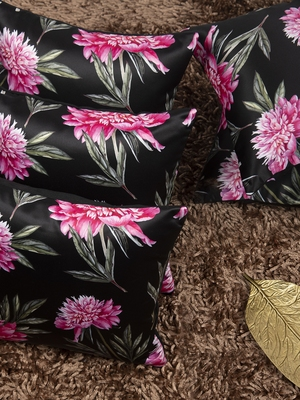 """Houzzcode Pink Floral Printed Cushion Cover 12""""x12"""" (Set of 5)"""