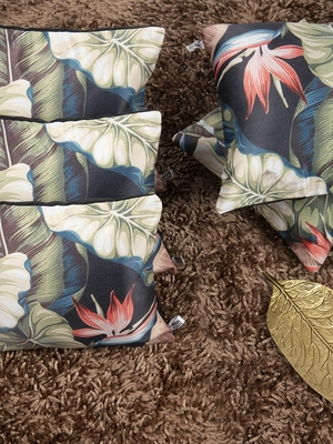 "Houzzcode Tropical Black Cushion Cover 12""x12"" (Set of 5)"