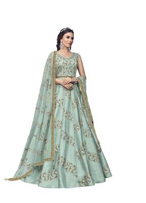 Sky blue embroidered silk salwar
