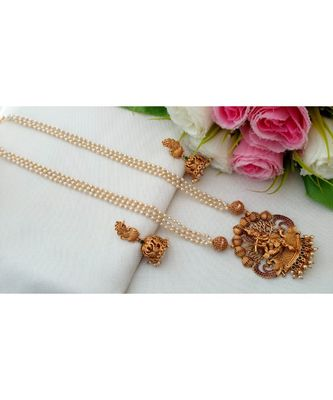 Lovely Pearl Cluster Long Necklace with Krishna Pendant with Matching Jhumkas