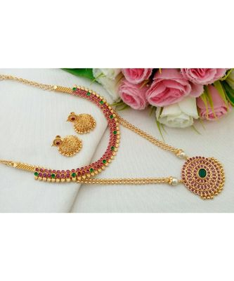 Gorgeous Gold Tone Designer Long & Short Combo Necklace Set with a pair of Matching Ear Rings