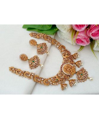 Trendy & Traditional Designer Matt Gold Finish Necklace with Jhumka Hangings with a pair of Matching Ear Rings