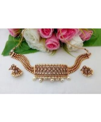 Eye Catching Antique Gold Finish Choker with a pair of Beautiful Jhumkas