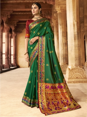 Green woven paithani silk saree with blouse