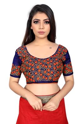orange embroidered cotton blouse fabric