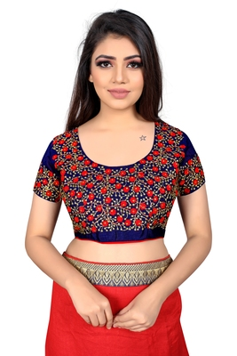 red embroidered cotton blouse fabric