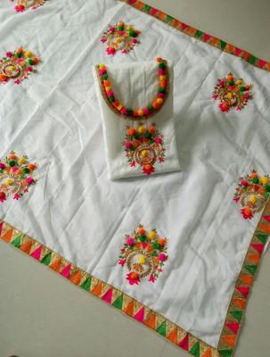 White emnbroderi work chanderi Un-Stitch dress material