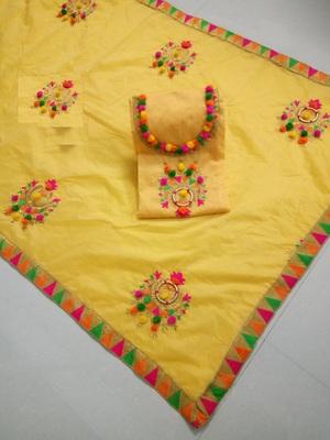 yellow embroider chanderi cotton un stitch salwar suit