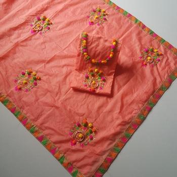 peach chanderi cotton embroderi unstitch dress salwar suit