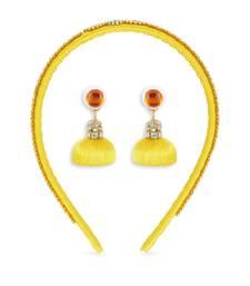 Girls Yellow Ethnic Hairband Set