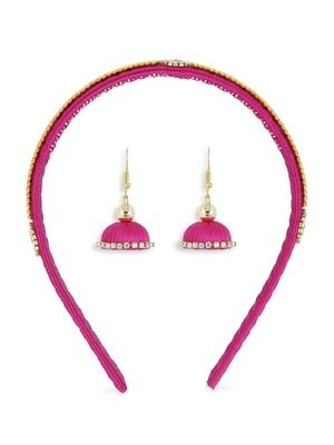 Girls Pink Ethnic Hairband Set