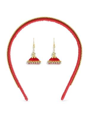 Girls Red Ethnic Hairband Set