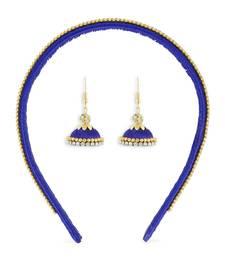 Girls Blue Ethnic Hairband Set